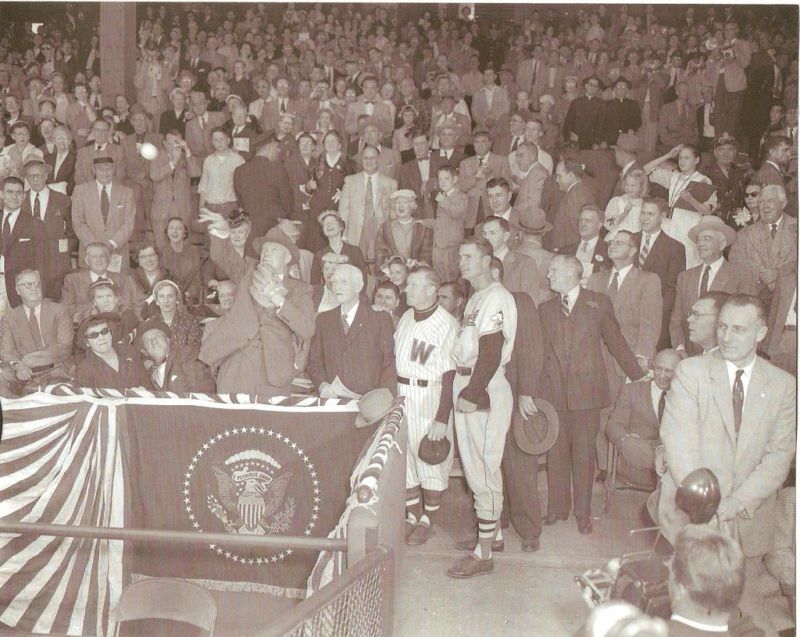 EISENHOWER JOHNSON FIRST PITCH  2 B/W VINTAGE PHOTOS