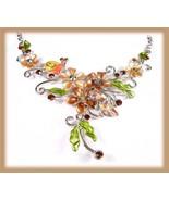 Sunny Necklace Earrings Set Golden Garden Daisies w/Crystals - $19.99