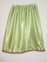 "Lime green satin half slip brown pink floral trim 25""-52"" sissy-XXL - $23.20"