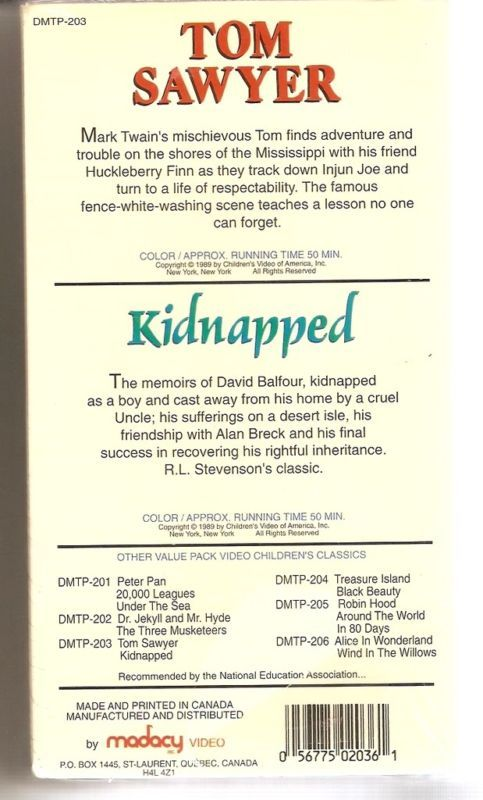 TOM SAWYER/KIDNAPPED 2 VHS Video Set NEW SEALED