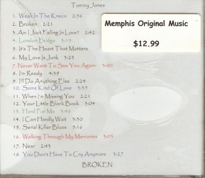 TOMMY JONES Broken CD NEW Memphis Original Music