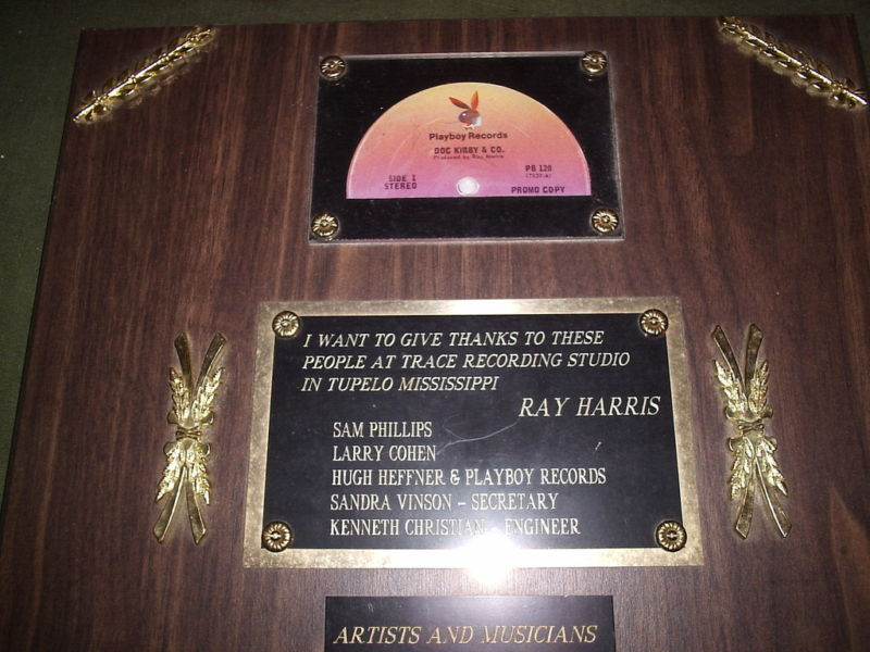 TRACE RECORDING AWARDS PLAQUE Sam Phillips Ray Harris