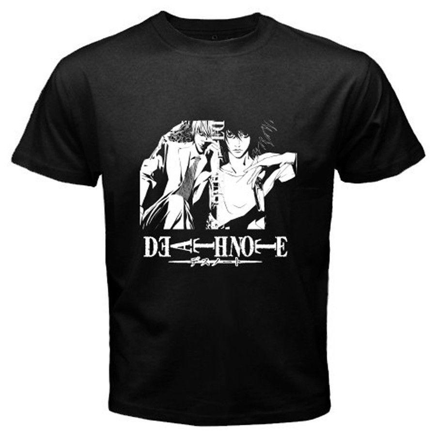Death note l vs light yagami anime manga mens black t for Men s vs women s t shirt sizes