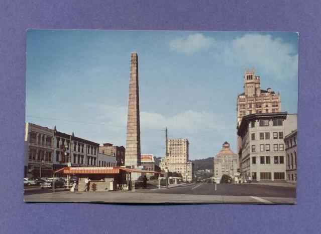 Vintage Postcard 1957 Pack Square Downtown Asheville NC 1950s