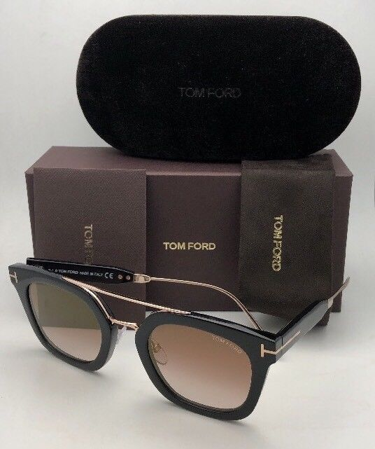 New TOM FORD Sunglasses ALEX-02 TF 541 01F 51-25 145 Black & Gold w/Brown+Mirror image 12