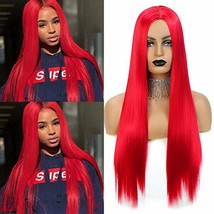 Valentines Day Gifts Aigemei Women's wig Long Straight Red Color 26 Inch Ladies