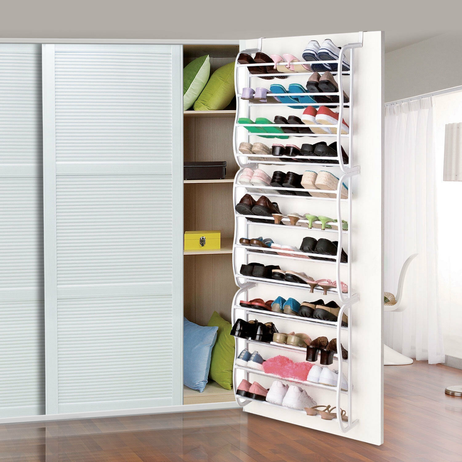 Primary image for Over-The-Door Shoe Rack for 36 Pair Wall Hanging Closet Organizer Storage Stand