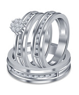 14k White Gold Plated 925 Sterling Silver Mens Ladies Anniversary Trio Ring Set - $157.99