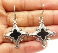 925 Sterling Silver - Vintage Black Onyx Floral Designed Dangle Earrings... - $25.90