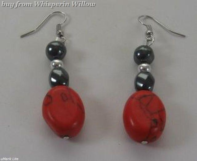 Magnetic Hematite and Red Stone with Silver Fashion Earrings