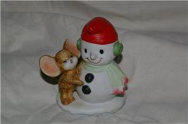 Homco Snowman and Mouse Figurine 8905 Home Interiors - $5.99