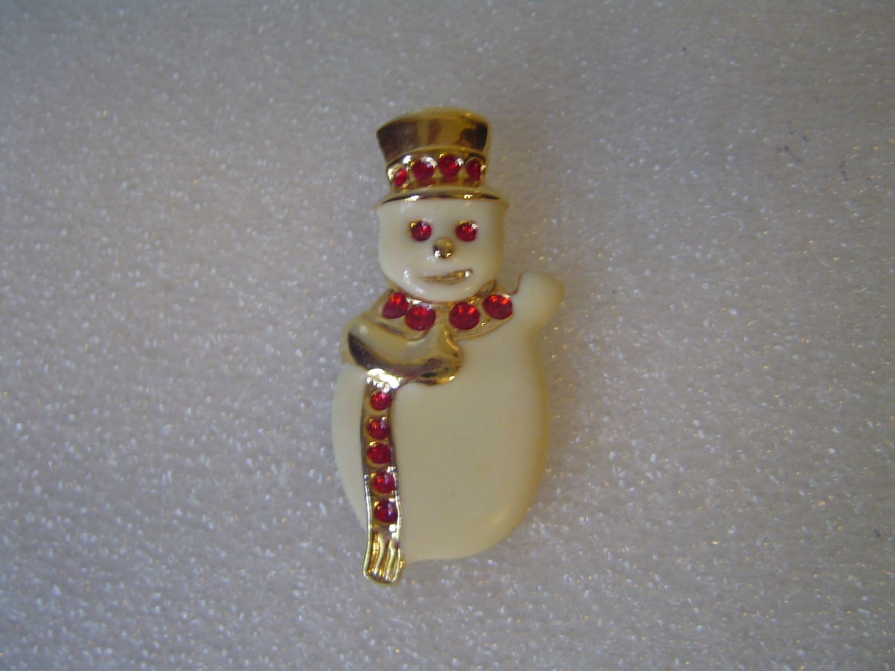 Vintage Snowman Pin or Brooch White Enamel with gold & Red Crystals AAI
