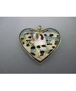 Asian enamel crane heart pendant - $20.00