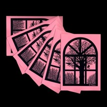 Winter View From Old Danish Barn Window. 6 Folded Pink Cards by Nonboe.dk - $10.00