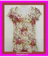 XLARGE LACE  ROSE FLOWER PINK LONG TEE SHIRT TOP BLOUSE - $22.75