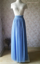 DUSTY BLUE Tulle Maxi Skirt Full Length Blue Wedding Bridesmaid Skirt Plus Size