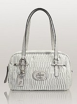Guess Cool Disco White Medium Box Satchel pleaded Style 4G Logo Rouched ... - $89.99