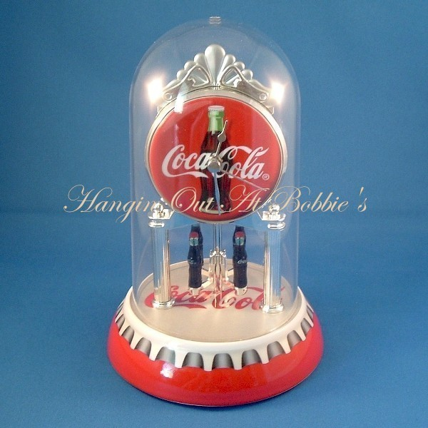 Coca Cola Clock Revolving Bottle Pendulum Dome Cover New Unused