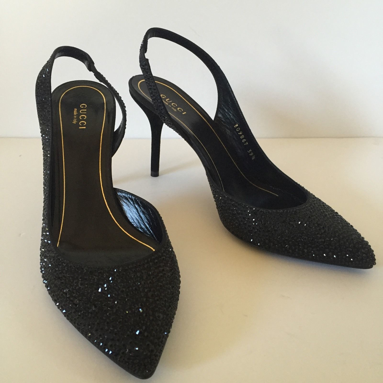 047e6acec2b AUTH NEW GUCCI 39.5 US 9 9.5 Pointy shoes pumps heels crystals  1