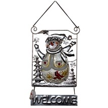 Metal & Glass Winter Holiday Snowman Seasonal Hanging Welcome Sign Decor image 2