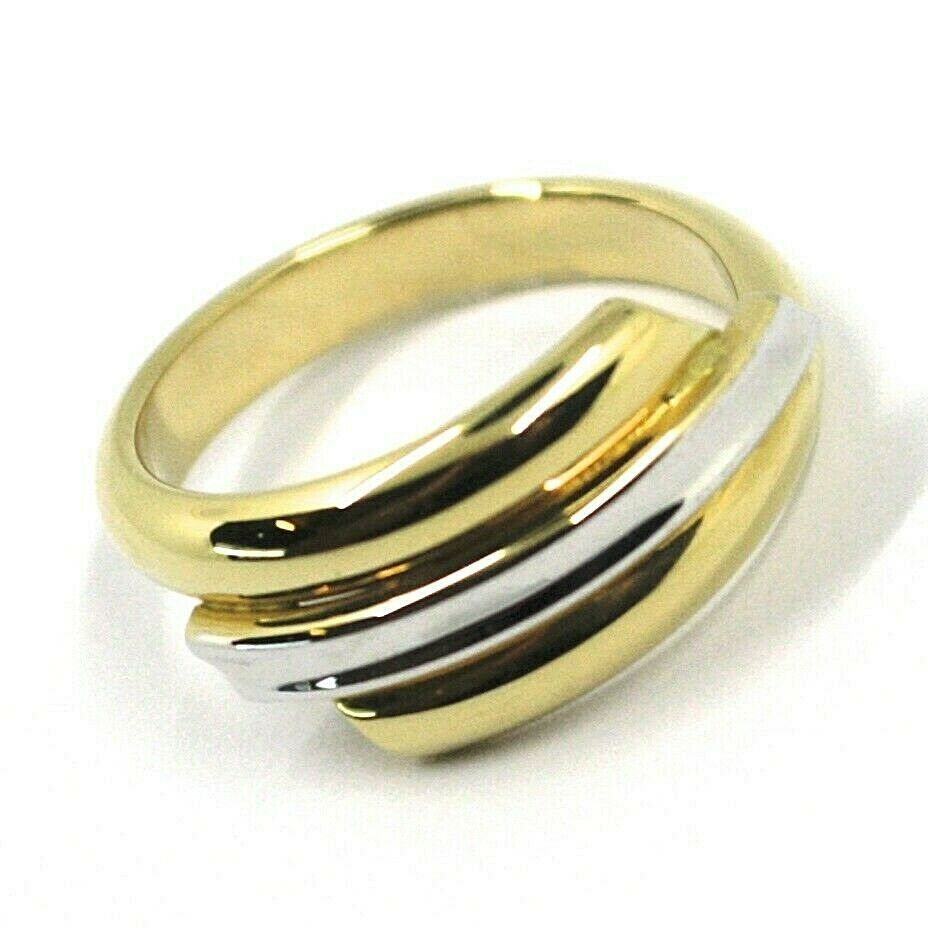 18K YELLOW WHITE GOLD BAND RING, TRIPLE TUBE, ROUNDED, BICOLOR