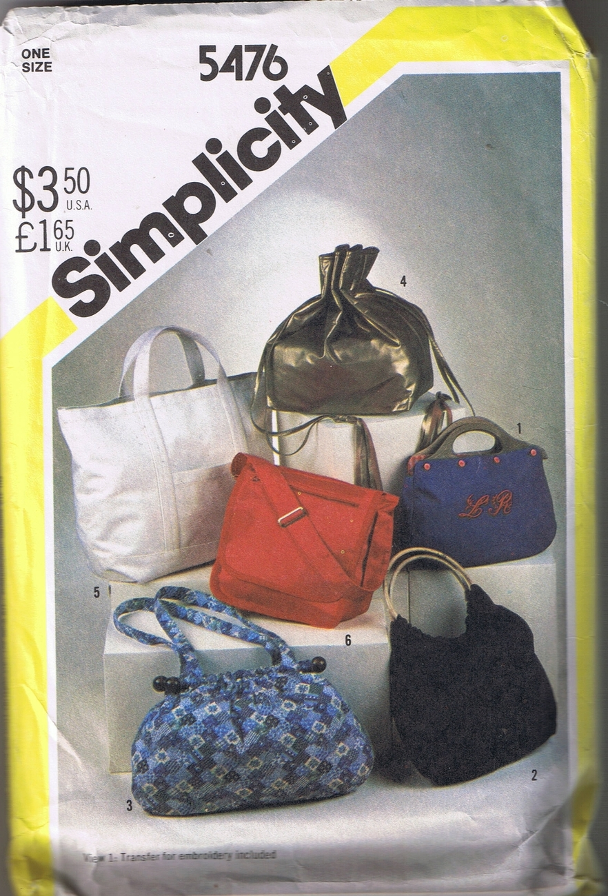 Simplicity 5476 Fashion Handbags - 6 different Styles UNCUT