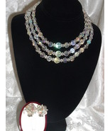 Vintage Crystal Bead Set Aurora Borealis Tripple Swag Necklace & Earrings - $59.95
