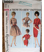Simplicity 5022 Vintage 50s Pattern Womans Full Skirt  Bodice Dress Unused - $9.95