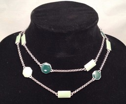 New Cookie Lee Shades of Green Necklace - Wear Long or Doubled - $13.67