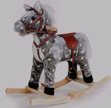 Kids Rocking Pony Plush Ride On Toy Horse Gray Speckled Childrens Riding... - $98.51