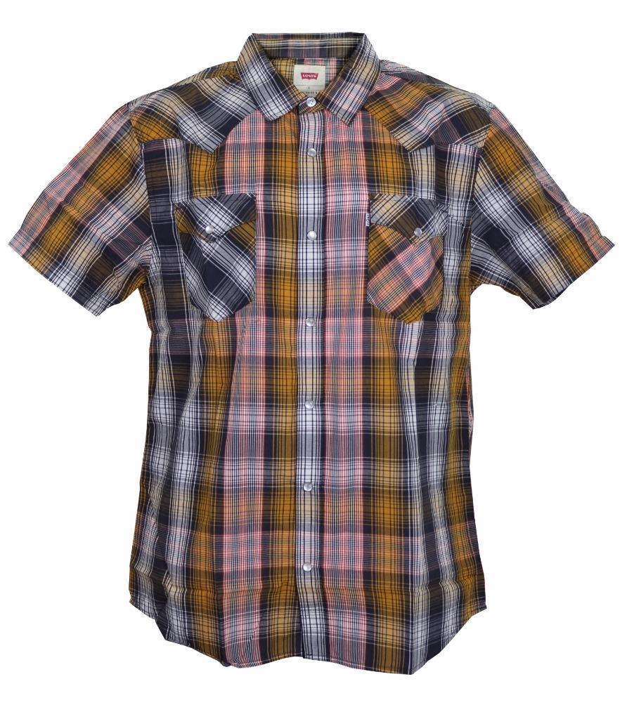 NEW LEVI'S MEN'S CLASSIC PREMIUM COTTON CASUAL BUTTON UP PLAID 3LYSW0182-ORG