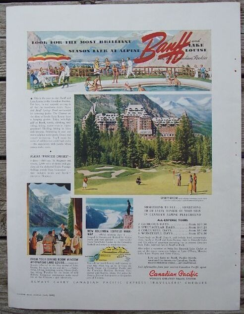 Primary image for 1940 Canadian Pacific Banff Lake Louise Travel Ad plus