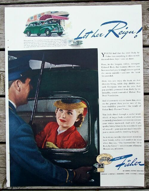 1940 Body by Fisher Let Her Reign GM Cars Ad plus
