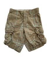 GAP Kids Boys 8 Plaid Cargo Shorts Adjustable Waist Kids Tan Blue - $8.90