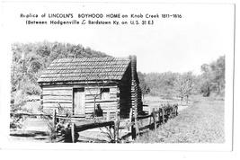 Replica Lincolns Boyhood Log Cabin Home Knob Creek KY Glossy Photo Postcard RPPC - $6.69