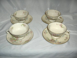 4 Vintage Cups & Saucer Sets Theodore Haviland China Apple Blossom New York - $44.55