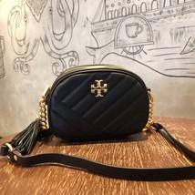 TORY BURCH Kira Chevron Small Camera Crosbody Shoulder Bag Black Authentic - $278.00
