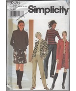 Simplicity 9326 Misses' Top, Pants, Skirt, Jacket Sewing Pattern, Size 1... - $3.25