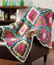 Z676 Crochet PATTERN ONLY Ultra Plush Mosaic Lap Robe Throw Afghan Pattern - $6.50