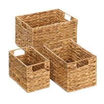 Storage Basket Set, Woven Baskets For Storage, Straw (set Of 3) - $37.48