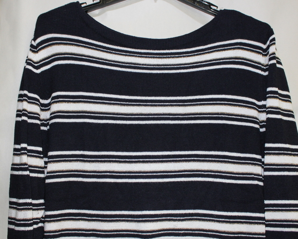 Primary image for Women's East 5th Long Sleeve XL Black & White Gold Stripe Sweater