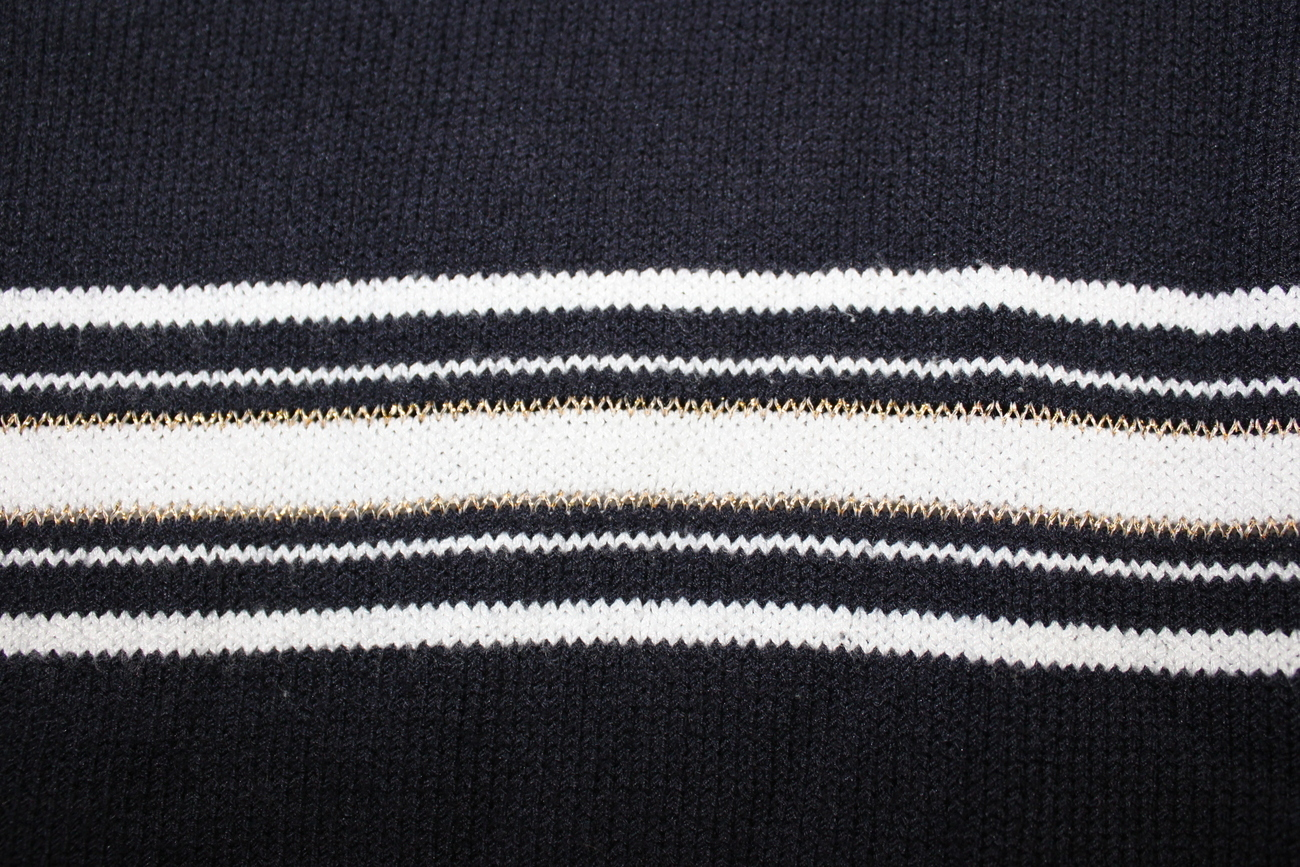 Women's East 5th Long Sleeve XL Black & White Gold Stripe Sweater