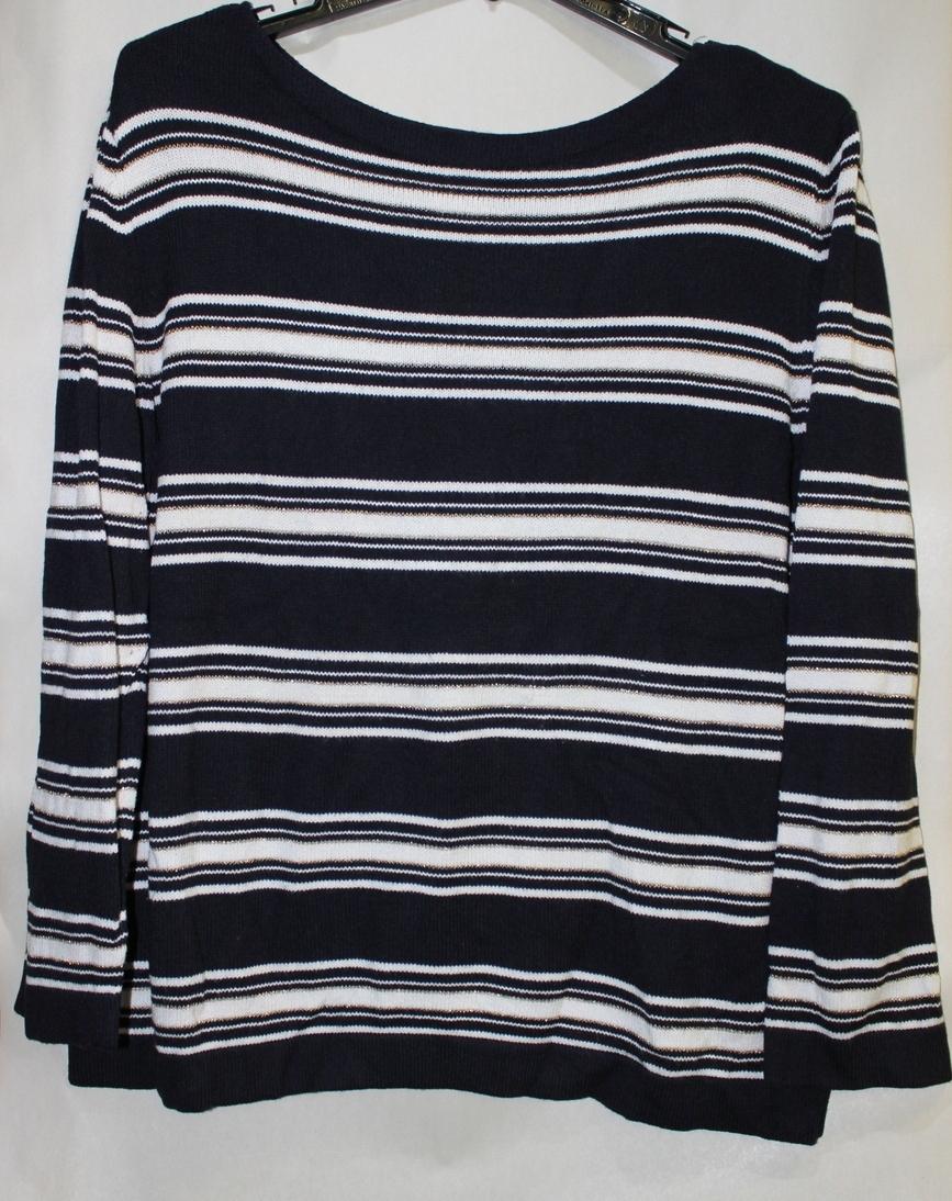 Women's East 5th Long Sleeve XL Black & White Gold Stripe Sweater