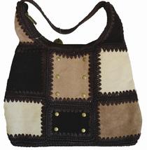 The Sak® Wendy Handbag Purse - Brown Knit and Suede Patchwork Bag NWT *Rare - $49.00