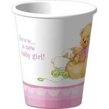 Sweet Bear Pink Baby Shower 9 oz Paper Cups 8 Per Package  Party Supplies - $3.22