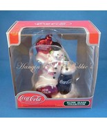 Coca Cola Blown Glass Christmas Ornament Snowman 2002 - $12.99