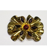 Vintage Sterling Brooch Vermeil Ribbons & Red Rhinestones - $34.50