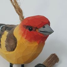 Carved Wood Bird Western Tanager Hanging Ornament Red Head Yellow Body Perched image 8