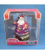 Coca Cola Blown Glass Christmas Ornament Santa ... - $12.99