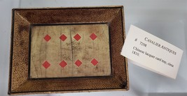 c 1810 antique CHINESE LACQUER CARD TRAY playing gaming counter - $68.95